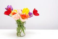 Free Colorful Tulips In Mason Jar Stock Photos - 52441513