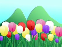 Colorful tulips paper cut style stock illustration