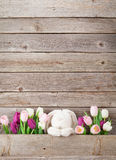 Colorful tulips and rabbit. Easter card Royalty Free Stock Images