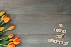 Colorful tulips on weathered green planks. Tile letters with sen. Timent for Mother`s Day Stock Images