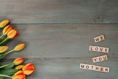 Colorful tulips on weathered green planks. Tile letters with sen. Timent for Mother`s Day Stock Photos
