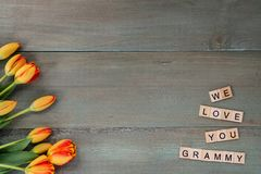Colorful tulips on weathered green planks. Tile letters with sen. Timent for Mothers Day Stock Photo
