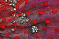 Colorful tulle with red dots Royalty Free Stock Photography