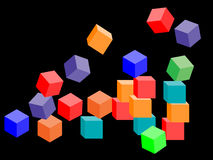Colorful tumbling blocks. Background for design Stock Images