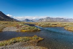 Colorful tundra in front of the river and Stock Photos