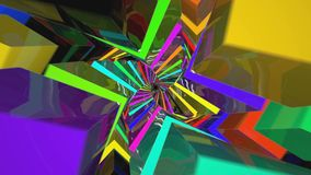 Colorful Tunnel Flythrough Loop in 4K UHD. Twisted Colorful Tunnel Fly through Loop in 4K UHD stock footage