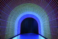 Colorful tunnel. Tunnel of illuminated LED light Stock Photography
