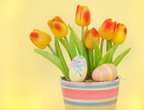 Colorful Tupips and Easter Eggs Stock Image
