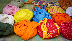 Colorful Turbans. For sale in Jaisalmer, Rajasthan, India Royalty Free Stock Photography