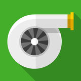 Colorful turbocharger icon in modern flat style with long shadow. Car parts. And service vector illustration Royalty Free Stock Images