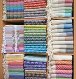 Colorful Turkish Bath Towels. Known as Hamam Pestemal. Towels made of organic cotton Stock Photos