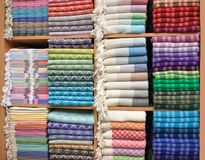 Colorful Turkish Bath Towels. Made of organic cotton, known as Hamam Pestemal Royalty Free Stock Photos