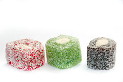 Colorful turkish delight over white background Royalty Free Stock Images