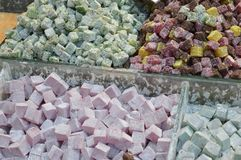 Colorful of Turkish delight in a store market. Closeup royalty free stock photography