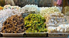 Colorful turkish delights in Egyptian Spice Bazaar Stock Photography