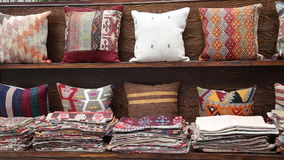 Colorful Turkish design cushions at Grand Bazaar stock video