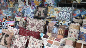 Colorful Turkish design cushions at Grand Bazaar stock footage
