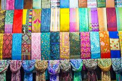 Colorful turkish fabric samples on Grand bazaar Royalty Free Stock Images