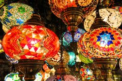 Crystal lamps for sale on the Grand Bazaar at Istanbul Stock Photography