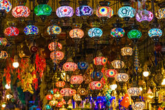 Colorful Turkish lamps hanging in market Stock Photos