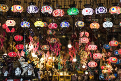 Colorful Turkish lamps hanging in shop Stock Image
