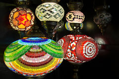 Colorful Turkish Lanterns. A display of colorful Turkish glass lanterns at a shop in Istanbul, Turkey Royalty Free Stock Images