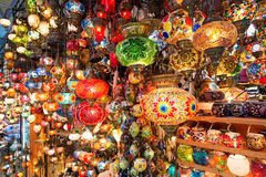 Colorful Turkish lanterns offered for sale at the Grand Bazaar i Stock Image