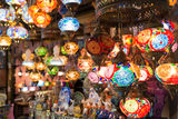 Colorful Turkish lanterns offered for sale at the Grand Bazaar Royalty Free Stock Image