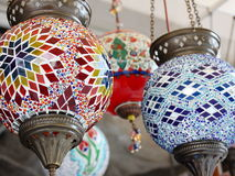 Colorful Turkish mosaic lamps in a store Stock Photo