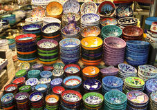 Colorful Turkish pottery Stock Images