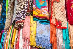Colorful Turkish scarves royalty free stock photo