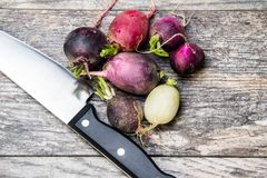 Colorful turnips on a wooden cutting board. Colorful turnips waiting to be cut on a wooden cutting board Stock Image