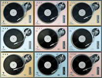 Colorful turntables. Cool colorful turntables background. 3D render Stock Photography
