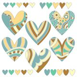 Colorful heart collection isolated over white background Royalty Free Stock Image