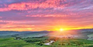 Colorful Tuscany sunrise Royalty Free Stock Photos
