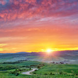 Colorful Tuscany sunrise Stock Photography