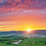 Colorful Tuscany sunrise Stock Photography