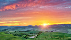 Colorful Tuscany sunrise Stock Photos