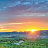 Colorful Tuscany sunrise Stock Image