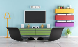 Colorful TV room. Colorful living room with tv,wall ubit and black armchair - 3D Rendering Royalty Free Stock Images
