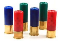 Colorful Twelve Gauge Shotgun Shells. A collection of colorful twelve gauge shotgun shells Royalty Free Stock Photography