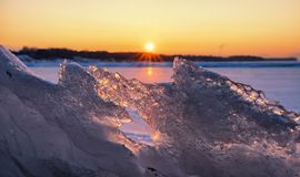 Colorful twilight over frozen lake Royalty Free Stock Photography