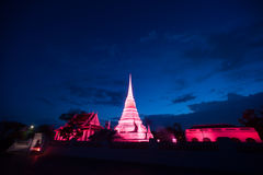 Colorful on twilight of Phra Samut Chedi Pagoda in Thailand. Royalty Free Stock Photo