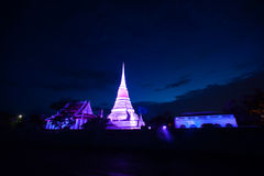 Colorful on twilight of Phra Samut Chedi Pagoda in Thailand. Stock Photo