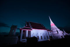 Colorful on twilight of Phra Samut Chedi Pagoda in Thailand. Stock Photos