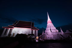 Colorful on twilight of Phra Samut Chedi Pagoda in Thailand. Royalty Free Stock Image