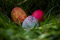 Colorful twin easter eggs stock image