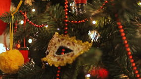Colorful twinkle lights and bokeh in defocus. Christmas tree toys, romantic Christmas and New Year, Holiday stock video