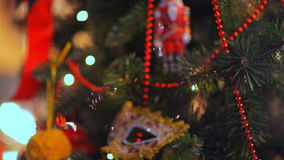 Colorful twinkle lights and bokeh in defocus. Christmas tree toys, romantic Christmas and New Year, Holiday stock footage