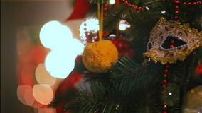 Colorful twinkle lights and bokeh in defocus. Christmas tree toys, romantic Christmas and New Year, Holiday. Christmas tree toys, romantic Christmas and New Year stock footage